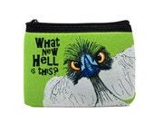 """What New Hell Ostrich Coin Purse Zipper Pouch - 4x5"""""""