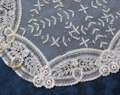 Beautiful Antique Brussels Lace Center Mat Doily