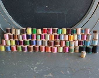 75 Vintage Wooden Spools with Thread
