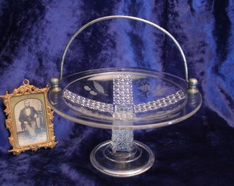 Antique EAPG Pattern Glass Paneled Finecut Pedestal Compote