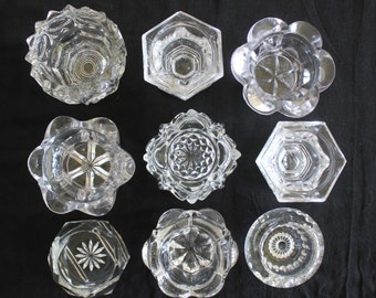 9 Antique Glass EAPG Master Salt Cellars
