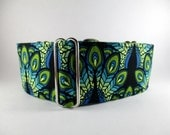 Turquoise Martingale Collar, 2 Inch Martingale Collar, Royal Blue, Peacock, Sighthound Collar, Tuquoise Dog Collar, Colorful