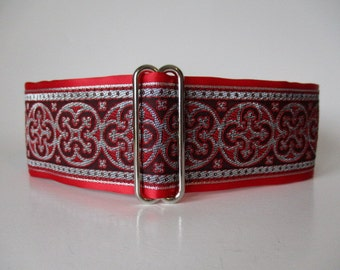 Red Martingale Collar, 2 Inch Martingale Collar, Jacquard Martingale Dog Collar, Red Dog Collar, Greyhound Collar, Whippet Collar
