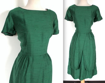 Vintage 1950's Dress // 40s 50s Green Tulip Skirt Peplum Dress // Flecked Evergreen Gabardine Wiggle Dress
