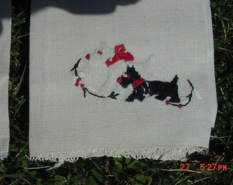 Vintage 1950's Hand Embroidered Scottish Terrier Hand Towels    16 - 120
