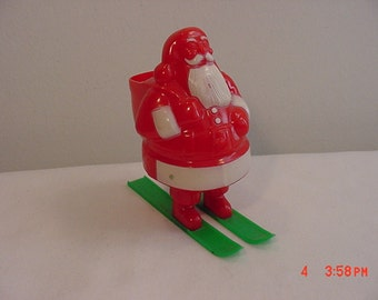 Vintage Santa Claus On Skies Plastic Candy Container   16 - 406
