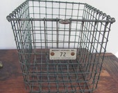 Vintage Wire Locker Basket, Industrial Wire Basket, Rustic Wire Basket, Photo Prop