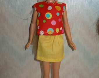"""Handmade 11.5"""" fashion doll clothes - orange and multi color dots print top and yellow skirt"""