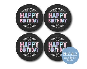 Happy Birthday Cupcake Toppers | Happy Birthday Circles | Purple and Pink | Birthday party circles | Printable  DIY 1002