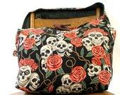 SKULL BAG - Crossbody Hobo Bag - Goth Bag - Skull and Roses - Large Bag - Hippie Bag - Skull Purse - Boho Bag - Vegan Bag - Sling Bag
