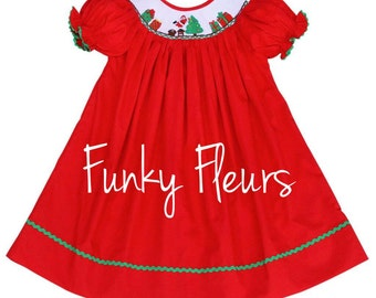 IN Stock, Ready to Ship, Christmas Smocked Dress, Smocked Dress, Christmas Dress, Smocked Christmas Dress, Holiday Smocked Dress, Holiday Dr