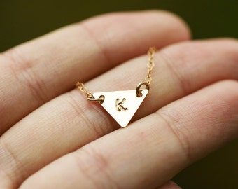 Silver or Gold or Rose gold initial Triangle necklace,Geometric jewelry. modern minimalist jewelry for everyday,bridesmaid gifts,minimalism
