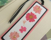 Pink and Black Pressed Flower Floral Collage Laminated Bookmark