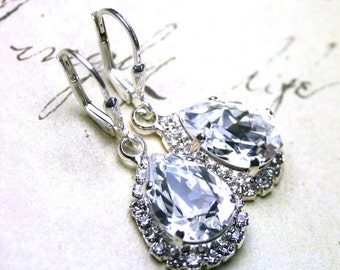 ON SALE Elegant Teardrop Earrings - Swarovski Crystal Teardrop Halo Earrings with Sterling Silver Leverbacks - Bridal Earrings