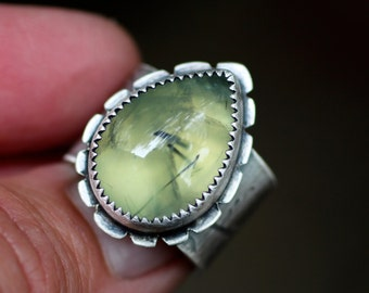 The Naturalist's Ring - Prehnite, Recycled Sterling & Fine Silver - Made to Order - Talisman, Nature, Leaves, Ivy, Fern, Charitable Giving