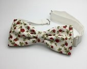 Floral Mens Bow tie Cotton Mens Bowtie Pre tied Red Rose Women Boy Baby Children Bow tie Country Shabby chic Wedding for Groom Groomsmen