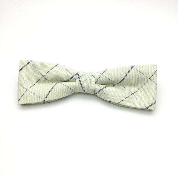 Skinny slips fra hvid plaid Clip-On præbundet bomuld-6156