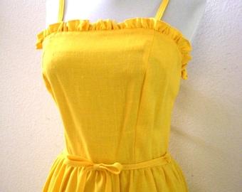 Vintage 60s 70s Marigold Yellow Dress - 1960s 1970s Yellow Sundress - Vintage Mustard Dress - Size Small to Medium estimated