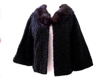 Vintage 1950s Black Curly Lamb Evening Jacket with Fur Collar, Black Rockabilly 50s 60s Evening Coat, Size Medium to Large estimated