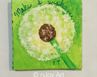 Dandelion Art Magnet, 3x3 inch acrylic canvas painting, magnet for home or office