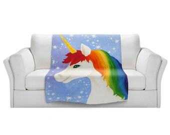 Rainbow Unicorn Fleece Blanket,  Kids Bedding, Baby Blanket, Girls Room Nursery Decor