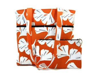 Orange Tote Purse, Ginko Print with Matching Zipper Pouch, Canvas Shoulder Bag, Two Strap Pocketbook, Orange Handbag, 4 Pocket Tote