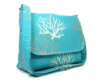 Teal Canvas Messenger Bag for Women, Crossbody Bag, Fabric Purse, Cotton Pocketbook with Adjustable Strap, Cross Body Purse, Canvas Handbag