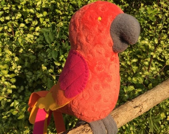 Parrot- stuffed minky plushie- sunset