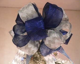 custom order for Julie Lg Wht w/ Silver Glitter Chevron stripes, shimmer blue ribbons Xmas Tree topper bow, 24  ornament bows 8 ft tails