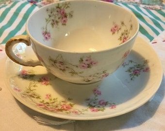 Vintage 2 Piece Tea Cup Set Dainty Pink Floral Theodore Haviland Limoges Made in France #3923