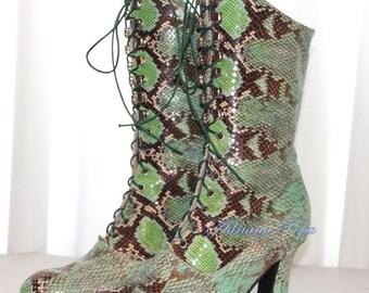 SALE Rare Python leather shoes Victorian Booties very rare Python leather Victorian Boots Snake Python Ankle boots in Snake Leather