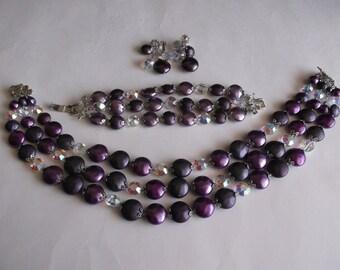 Vintage Purple Vendome Parure Set Signed 3 Strand Necklace & Bracelet With Earrings 4 Piece Set