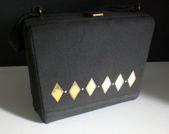 Vintage Box purse, Mini bag,Structured handbag, Mid Century, Rockabilly, Gold diamonds and rhinestones