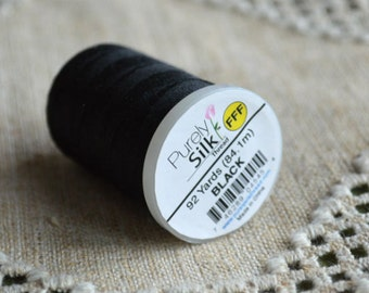 Cord Thread Black Purely Silk Spool Sizes E - FFF 92 -200 Yard Spool