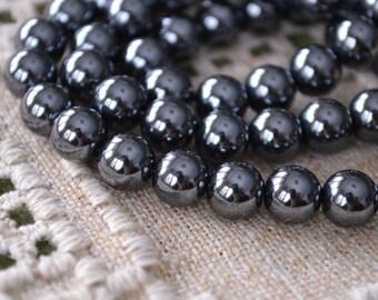 66pcs Hemalyke 6mm Round Beads Black Metallic 16 Inch Strand