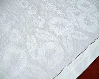 Damask Linen Vintage Hand Towel Flowers Petunias Drawnwork