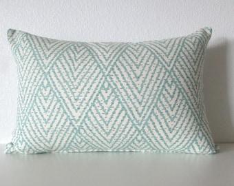 Tahitian stitch horizon blue geometric decorative pillow cover - Ballard Design Belize Spa