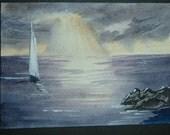 seascape art painting original watercolour ref 250