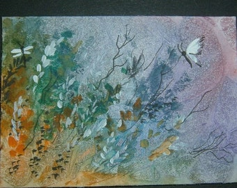 aceo butterfly fantasy art painting ref 304