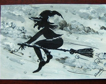 witch art painting original postcard ref 327