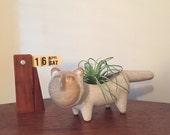 Vintage Stoneware David Stewart Potter Planter Cat Figurine