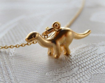 Dinosaur Necklace, Little Dino, Brontosaurus, Prehistoric, Gift for Her