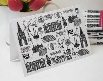 Scotland Card - Scotland drawing - Scotland illustration - Scotland gift - Scotland skyline - Scotland blank card