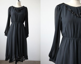 Vintage 70s Black Dress with Poet Sleeves Ruffled Neckline and Hem Lace Trim Disco Glam S