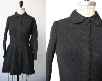 Antique Victorian Era Black Walking Jacket Mourning Crinkle Textured Fabric XXS-XS