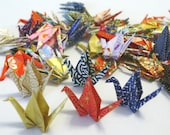 100 Beautiful Mini Washi Japanese Origami Paper Cranes (2.5' x 2.5') - Random traditional chiyogami designs