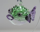 Purple and Green Handblown Puffer Fish