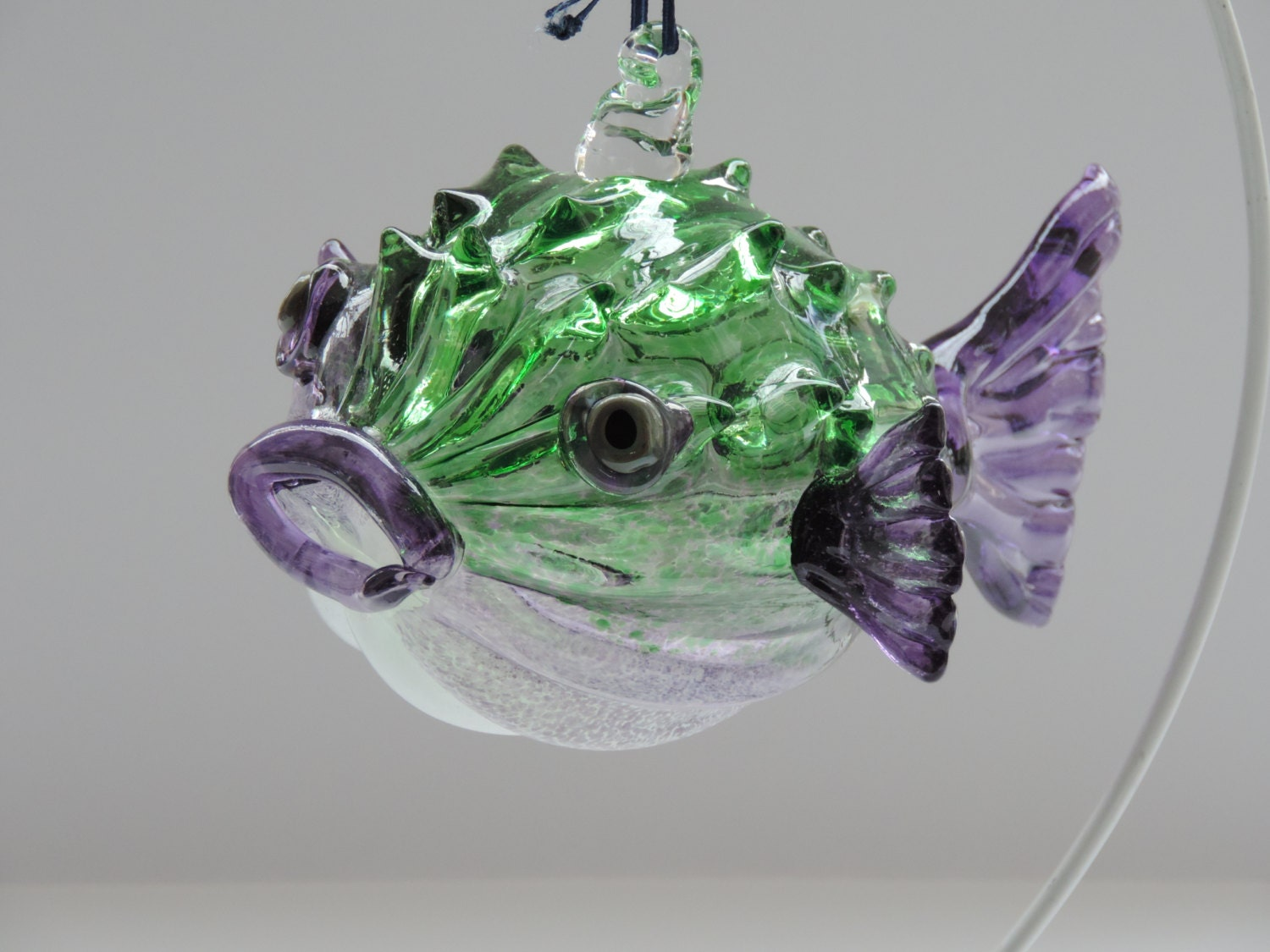Purple And Green Handblown Puffer Fish