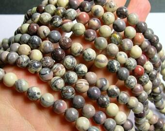 Porcelain Jasper - 8 mm round beads - full strand - 49 beads - RFG876