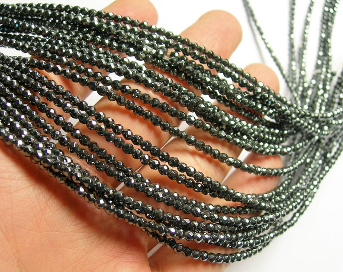 Hematite - 3 mm faceted round beads -1 full strand - 136 beads - AA quality - RFG386
